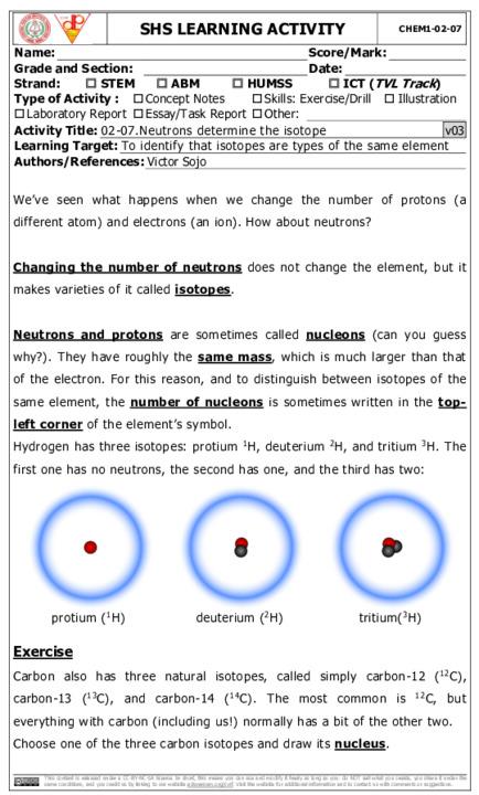 CHEM1_02_07: Neutrons determine the isotope | CVIF-DLP